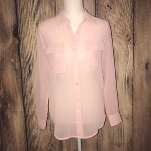LUSH SHEER PINK LONG SLEEVED BUTTON UP BLOUSE XS